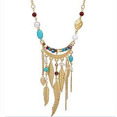 preiswerte Halsketten-Damen Türkis / Kristall Lang Stränge Halskette - Künstliche Perle, Harz Blattform Quaste, Böhmische Verschiedene Farben Modische Halsketten Für Party, Alltag, Normal