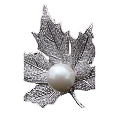 お買い得  ブローチ-女性用 ブローチ - 真珠 ゴールド, シルバー