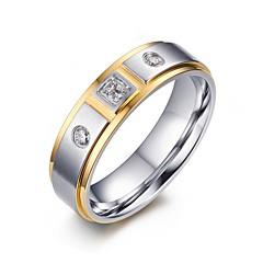 お買い得  指輪-女性用 キュービックジルコニア ステンレス鋼 / ジルコン / キュービックジルコニア ステートメントリング - ぜいたく / ファッション ホワイト リング 用途 結婚式 / パーティー / 日常