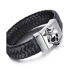 Муж. Кожаные браслеты Панк Нержавеющая сталь Кожа В форме черепа Бижутерия Назначение Для вечеринок Halloween Повседневные