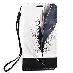 For Pung / Kortholder Etui Heldækkende Etui Fjer Hårdt Kunstlæder for Samsung Note 5 / Note 4 / Note 3