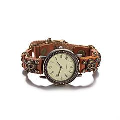 preiswerte Damenuhren-Damen Armband-Uhr Armbanduhr Quartz Wasserdicht Leder Band Analog Retro Totenkopf Böhmische Braun - Braun