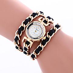 お買い得  レディース腕時計-女性用 ブレスレットウォッチ ラインストーン / / PU バンド チャーム / ボヘミアンスタイル / バングル ブラック / 白 / レッド / 1年間 / SSUO 377