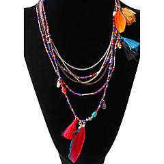 preiswerte Halsketten-Damen Türkis Perlenbesetzt Ketten / Stränge Halskette - Harz Feder Quaste, Böhmische Schwarz, Blau, Verschiedene Farben Modische Halsketten Für Party, Alltag, Normal