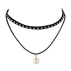 목걸이 초커 목걸이 보석류 캐쥬얼 베이직 디자인 나일론 여성 1PC 선물 블랙