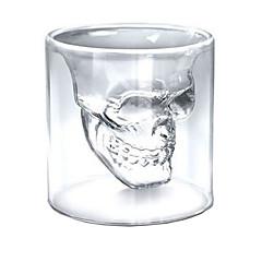 مقاومة للحرارة جدار مزدوج شفاف الإبداعي مخيفة جمجمة الرأس الجدة DRINKWARE يسكي كأس النبيذ الفودكا بالرصاص الزجاج