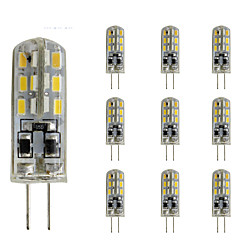 お買い得  LED 電球-10個 1.5W 300lm G4 LED2本ピン電球 チューブ 24 LEDビーズ SMD 3014 調光可能 装飾用 グリーン ブルー レッド 12V