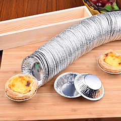 50PCS Disposable Foil Egg Tart Die round Egg Tart Cup Bottom Bracket Shell Aluminum Foil Egg Tart Egg Tart 50