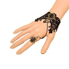 Biżuteria Lolita Klasyczna i Tradycyjna Bransoletka Retro Księżniczka Black Lolita akcesoria Bransoletka Kokarda Koronkowe Jendolity kolor