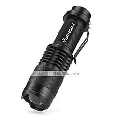 Lampes Torches LED LED 3000 Lumens 5 Mode Cree XM-L T6 Batterie 18650 x 1 Mini Faisceau Ajustable Résistant aux impacts Surface
