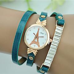tanie Promocje zegarków-Damskie Kwarcowy Sztuczny Diamant Zegarek Zegarek na bransoletce sztuczna Diament Skóra Pasmo Wieża Eiffla Modny Czarny Biały Czerwony