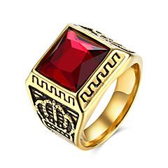 رخيصةأون -للرجال خاتم شخصية أوروبي والمجوهرات الفولاذ المقاوم للصدأ الصلب التيتانيوم زجاج Crown Shape مجوهرات من أجل حزب يوميا فضفاض