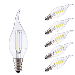 cheap LED Bulbs-GMY® 6pcs 3.5W 400/350 lm E14 LED Filament Bulbs B 4 leds COB Dimmable Warm White Cold White AC 220-240 V