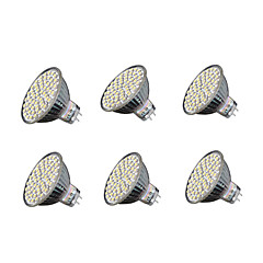 6pcs 4W 240 lm GU5.3 LED-spotlampen MR16 60 leds SMD 3528 Warm wit Koel wit 3000-3200/6000-6500