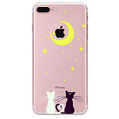 baratos Capinhas para iPhone5S / SE-Capinha Para Apple iPhone X iPhone 8 Plus iPhone 7 iPhone 6 Capinha iPhone 5 Estampada Capa Traseira Gato Macia TPU para iPhone X iPhone