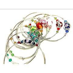 ブレスレット カフブレスレット 銅 ガラス ファッション パーティー 日常 カジュアル ジュエリー ギフト ブラック シルバー レッド ブルー グリーン パープル ピンク,1セット