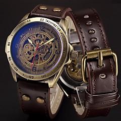 Ανδρικά Αθλητικό Ρολόι Στρατιωτικό Ρολόι Διάφανο Ρολόι Ρολόι Καρπού μηχανικό ρολόι Πανκ Ανοξείδωτο Ατσάλι Γνήσιο δέρμα Μπάντα