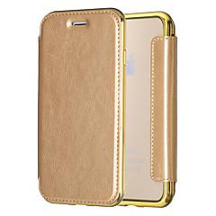 Для Покрытие Флип Полупрозрачный Кейс для Чехол Кейс для Один цвет Твердый Искусственная кожа для AppleiPhone 7 Plus iPhone 7 iPhone 6s