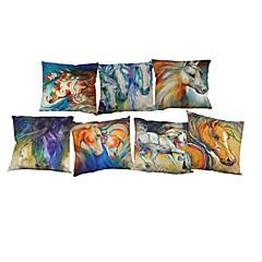 abordables Almohadas-7 PC Lino Funda de almohada Cobertor de Cojín, Un Color Floral Vida Salvaje Con Texturas Novedad Casual Estilo playero Reforzar