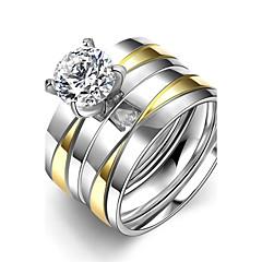 Dames Ring Zirkonia Dubbele laag Kostuum juwelen Roestvast staal Zirkonia Titanium Staal Verguld Sieraden Voor Dagelijks Causaal