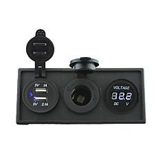 お買い得  カーアクセサリー-12V / 24V電源charger3.1aのUSBポートやカーボートトラックRV用のハウジングホルダーパネルと12Vの電圧計ゲージ