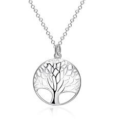 Недорогие Ожерелья-Жен. Серебрянное покрытие Ожерелья с подвесками Заявление ожерелья - Серебрянное покрытие Мода Круглый Геометрической формы Дерево жизни