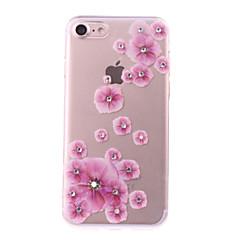 Недорогие Кейсы для iPhone 5-Кейс для Назначение Apple iPhone 7 Plus iPhone 7 Стразы Своими руками Кейс на заднюю панель Цветы Мягкий ТПУ для iPhone 7 Plus iPhone 7