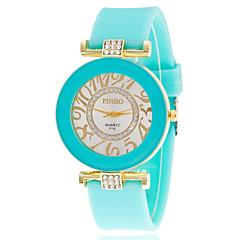 お買い得  レディース腕時計-女性用 リストウォッチ クォーツ ラインストーン 模造ダイヤモンド シリコーン バンド ハンズ カジュアル ファッション 模擬ダイヤモンドウォッチ ブラック / 白 / ブルー - ブルー ピンク スクリーンカラー