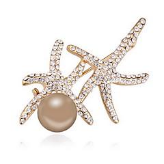 Dame Brocher Krystal Perle Lyserød Natur Imiteret Perle Østrigsk krystal Grå perle Guld perle Legering Dyreformet Smykker Til Daglig