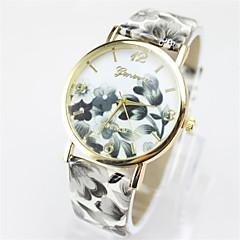 お買い得  レディース腕時計-女性用 ファッションウォッチ PU バンド 花型 / カジュアル ブラック / 白 / ブルー