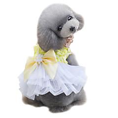 billige Hundetøj og tilbehør-Hund Kjoler Dress Hundetøj Sødt Bryllup Mode Sløjfeknude Gul Lys pink Kostume For kæledyr