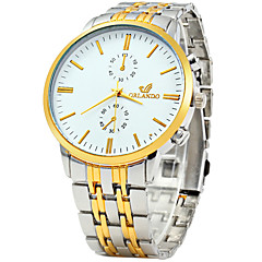 cheap Watch Deals-Men's Quartz Wrist Watch / Casual Watch Stainless Steel Band Vintage Casual Dress Watch Fashion White