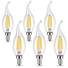 olcso LED izzók-6db 3 W 400 lm E12 Izzószálas LED lámpák CA35 4 led COB Tompítható Dekoratív Meleg fehér Hideg fehér 110-120 V