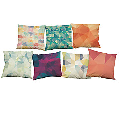 cheap Pillows-Set of 7 Creative geometry lattice  Linen  Cushion Cover Home Office Sofa Square  Pillow Case Decorative Cushion Covers Pillowcases