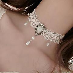 Női Rövid nyakláncok Gyöngyutánzat Flower Shape Gyöngyutánzat Csipke Tetoválás Függő Virágos Ékszerek Kompatibilitás Esküvő Parti