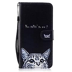 Недорогие Кейсы для iPhone 5-Кейс для Назначение Apple iPhone 7 Plus iPhone 7 Бумажник для карт Кошелек со стендом Флип С узором Чехол Кот Твердый Кожа PU для iPhone