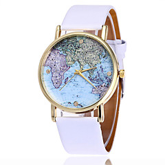 お買い得  大特価腕時計-女性用 レディース リストウォッチ クォーツ クール PU バンド ハンズ ファッション 世界地図柄 ブラック / 白 - ホワイト ブラック Brown