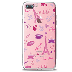 voordelige iPhone 6 hoesjes-hoesje Voor Apple iPhone 7 Plus iPhone 7 Transparant Patroon Achterkant Bloem Eiffeltoren Zacht TPU voor iPhone 7 Plus iPhone 7 iPhone 6s