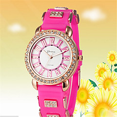 お買い得  レディース腕時計-女性用 ファッションウォッチ ダミー ダイアモンド 腕時計 クォーツ ホット販売 ローズゴールドめっき シリコーン バンド ハンズ カジュアル 白 / レッド / ピンク - ホワイト レッド ピンク