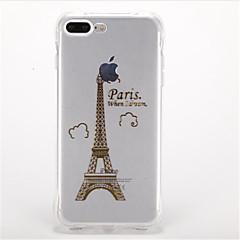 Voor Schokbestendig Beplating Patroon hoesje Achterkantje hoesje Eiffeltoren Zacht TPU voor AppleiPhone 7 Plus iPhone 7 iPhone 6s Plus