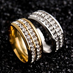preiswerte Ringe-Damen Eheringe - Edelstahl, Zirkon Einzigartiges Design 6 / 7 / 8 Gold / Schwarz / Silber Für Hochzeit / Party / Besondere Anlässe