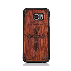 For Samsung Galaxy S7 S7edge Case Cover Bible Pattern Case Back Cover Case Hard Wooden and PC Material Combination