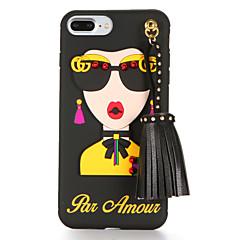Недорогие Кейсы для iPhone 6-Кейс для Назначение Apple iPhone 7 Plus iPhone 7 С узором Своими руками Кейс на заднюю панель Соблазнительная девушка Мягкий ТПУ для