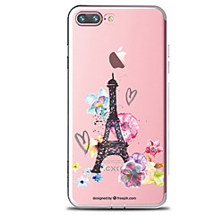 billige iPhone 4s / 4-etuier-Etui Til Apple iPhone 7 Plus iPhone 7 Transparent Mønster Bagcover Blomst Eiffeltårnet Blødt TPU for iPhone 7 Plus iPhone 7 iPhone 6s