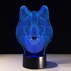 hayvan kurt dekor 3d led gece lambaları renkli kurt tasarım masa lambası genç kurt yanılsama ışıklar yatak odası, modern dekor