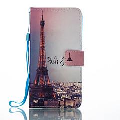 Недорогие Чехлы и кейсы для Huawei Mate-Кейс для Назначение Huawei Бумажник для карт Кошелек со стендом Флип С узором Чехол Эйфелева башня Твердый Кожа PU для P8 Lite (2017)