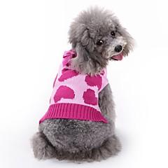 お買い得  犬用ウェア&アクセサリー-ネコ 犬 コート セーター ジャンプスーツ 犬用ウェア ハート ローズ アクリル繊維 コスチューム ペット用 男性用 女性用 キュート カジュアル/普段着 ファッション