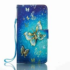 Для Кошелек Бумажник для карт со стендом Флип С узором Кейс для Чехол Кейс для Бабочка Твердый Искусственная кожа для HuaweiHuawei P8