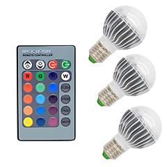 お買い得  LED 電球-3本 3W 300lm E26 / E27 LEDボール型電球 G50 1 LEDビーズ COB 調光可能 装飾用 リモコン操作 RGB 85-265V