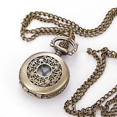 お買い得  レディース腕時計-男性用 ネックレスウォッチ クォーツ 30 m 大きめ文字盤 金属 バンド ハンズ チャーム 多色 - 青銅色